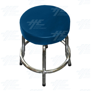 Arcade Stool Chrome with Swivel Seat (Blue)