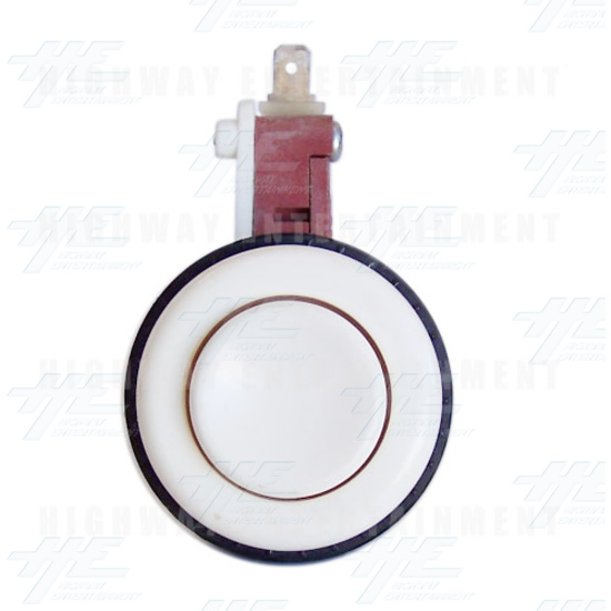 Pushbutton for Short Arcade Panel with Microswitch - White - Front View