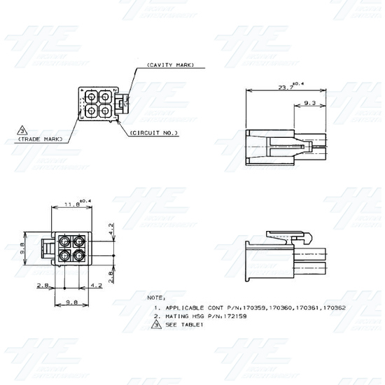 TYCO ELECTRONICS Universal Plug Housing, 4 Way Mate N Lok Plug - 172167-1 - Specification Diagram