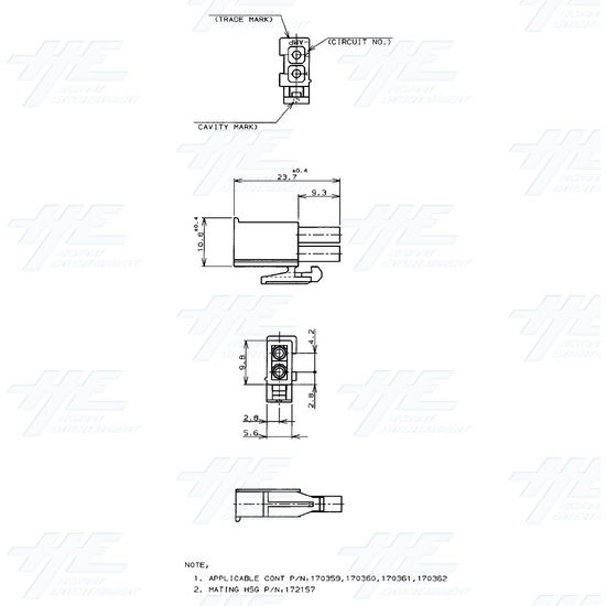 TYCO ELECTRONICS Universal Plug Housing, 2 Way Mate N Lok Plug - 172165-1 - Specification Diagram