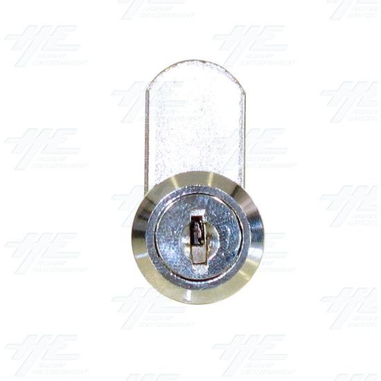 Chrome Flat Key Wafer Cam Lock - Key Series C10 - Front View