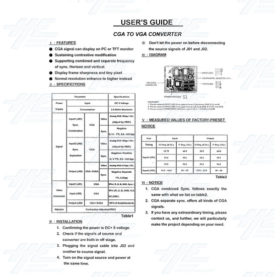 CGA (15k) to VGA (31k) Converter - Instruction Sheet