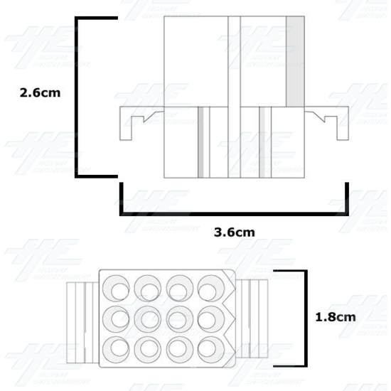 MOLEX 12 Way Plug Housing - 03-09-2122 - Diagram