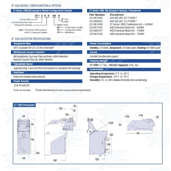 Australia Note Acceptor Mars ZT1103AU Model - Product Specification
