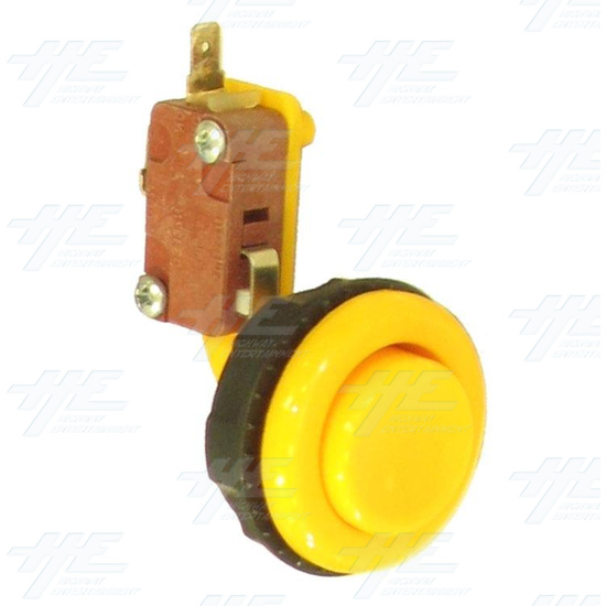 Pushbutton for Short Arcade Panel with Microswitch - Yellow - Full View