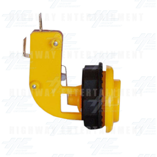 Pushbutton for Short Arcade Panel with Microswitch - Yellow - Left View
