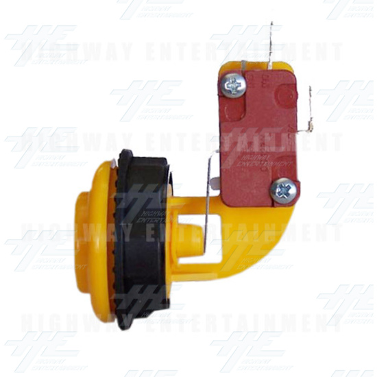 Pushbutton for Short Arcade Panel with Microswitch - Yellow - Right View