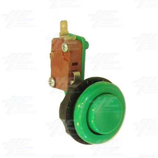 Pushbutton for Short Arcade Panel with Microswitch - Green - Full View