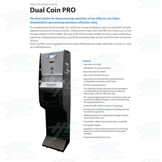 Dual Coin Change Machine With NV10 Bill Validator - Brochure Front