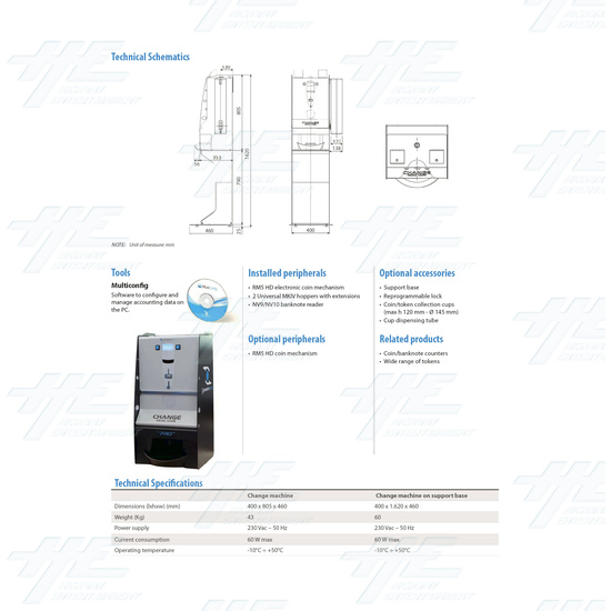 Dual Change Machine With NV9 Bill Validator - Brochure Back