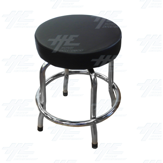 Arcade Stool Chrome with Swivel Seat - Full View