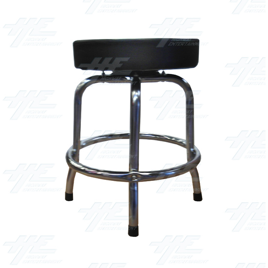 Arcade Stool Chrome with Swivel Seat - Side View
