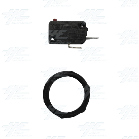 Arcade Push Button with Microswitch - Black - Fastener Ring and Microswitch