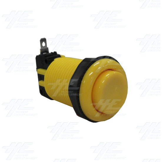 Arcade Push Button with Microswitch - Yellow - Full View