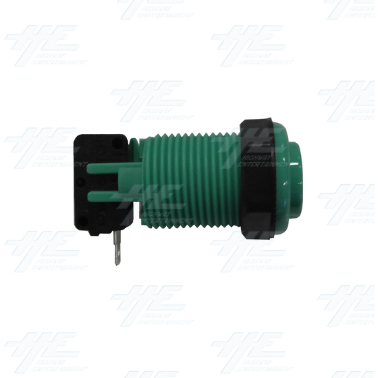 Arcade Push Button with Microswitch - Green - Side View With Microswitch