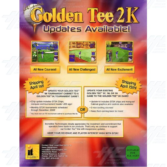 Golden Tee 2K Cabinet Game Board And Parts - Brochure