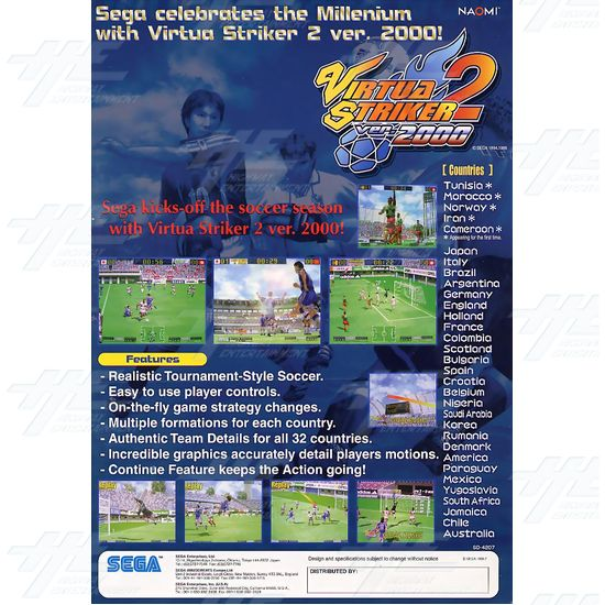 Virtua Striker 2 ver.2000 Catridge for Naomi Motherboard - Brochure Back