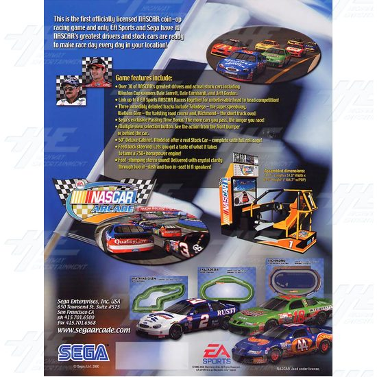 EA NASCAR 32inch Arcade Driving Machine  - Brochure Back