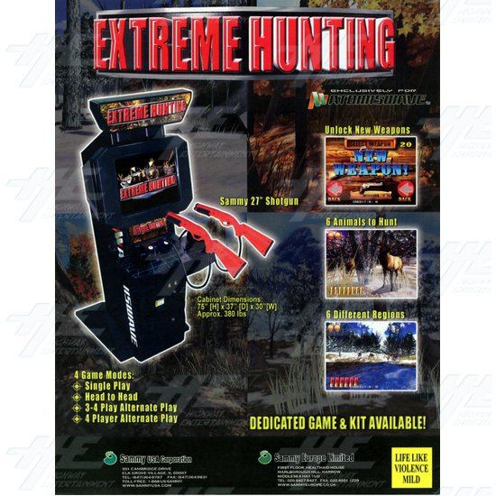 Extreme Hunting SD Arcade Machine (Cabinet only - Project Machine) - Brochure Back