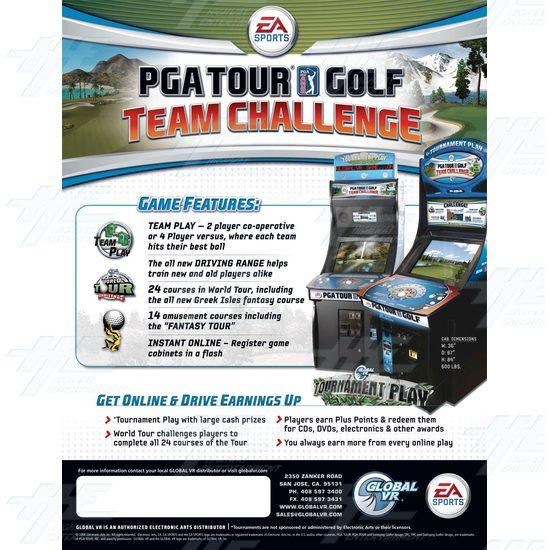 EA Sports PGA Tour Golf Challenge Arcade Machine - Brochure Back