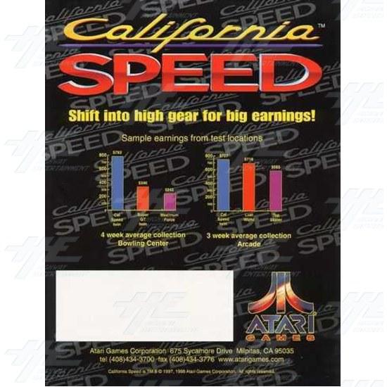 California Speed SD Arcade Machine - Brochure Back