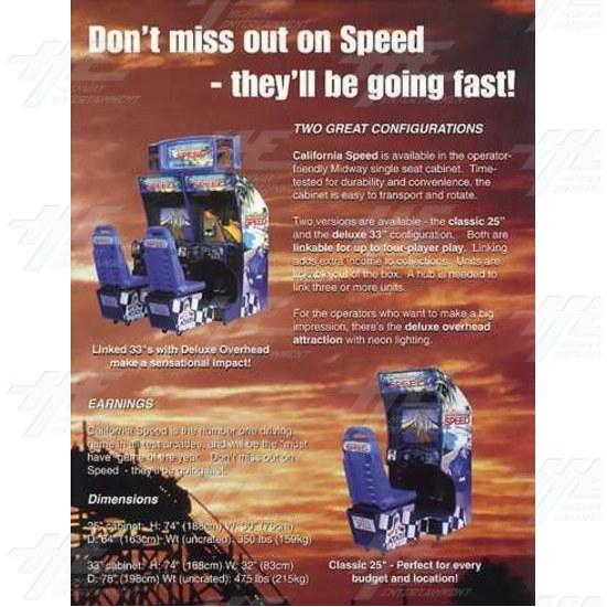 California Speed SD Arcade Machine - Brochure Inside 02