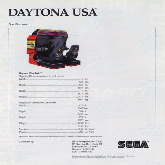 Daytona USA Twin (LAI) Arcade Machine - Brochure Back