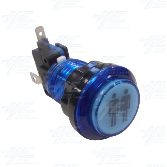 Player 2 (P2) Push Button for Arcade Machines - Blue Illuminated - Angle View