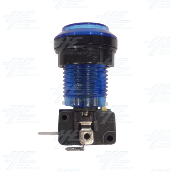 Player 2 (P2) Push Button for Arcade Machines - Blue Illuminated - Side View
