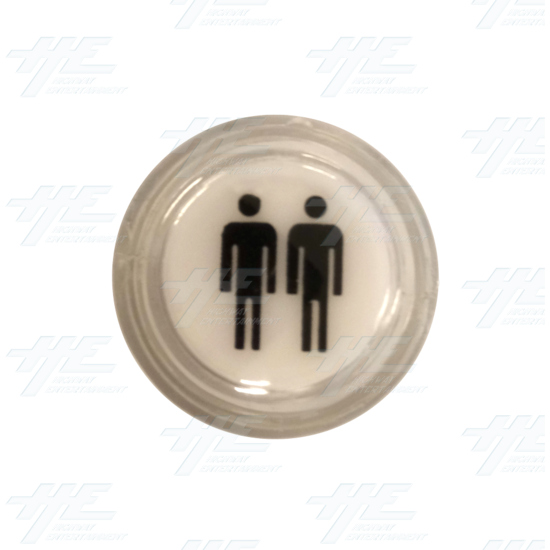 Player 2 (P2) Push Button for Arcade Machines - Clear Illuminated - Top View