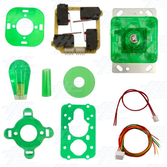 Green Illuminated Joystick for Arcade Machine - Kit View