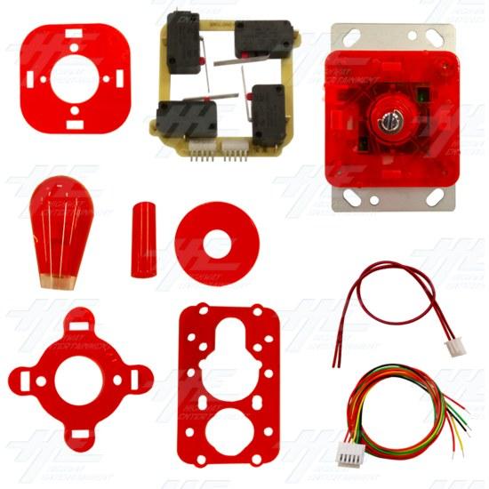 Red Illuminated Joystick for Arcade Machine - Kit View