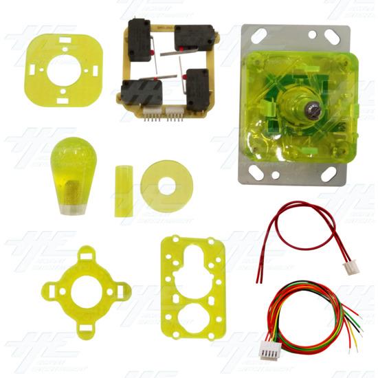 Yellow Illuminated Joystick for Arcade Machine - Kit View
