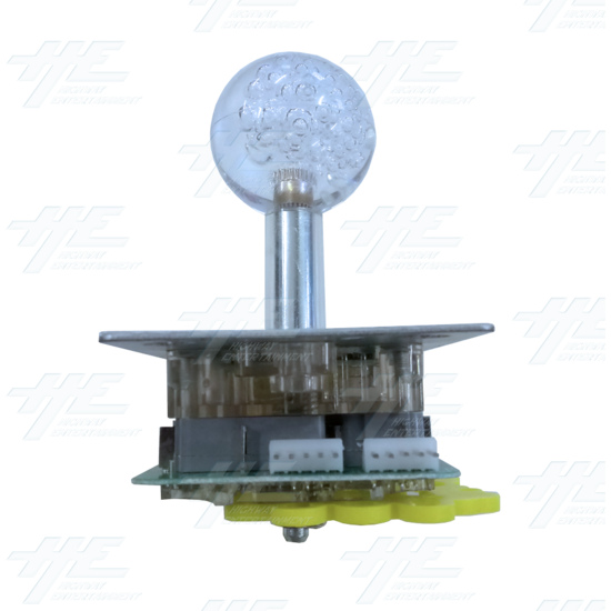 Multi-coloured Illuminated Joystick with Clear Bubble Top for Arcade Machine - left view