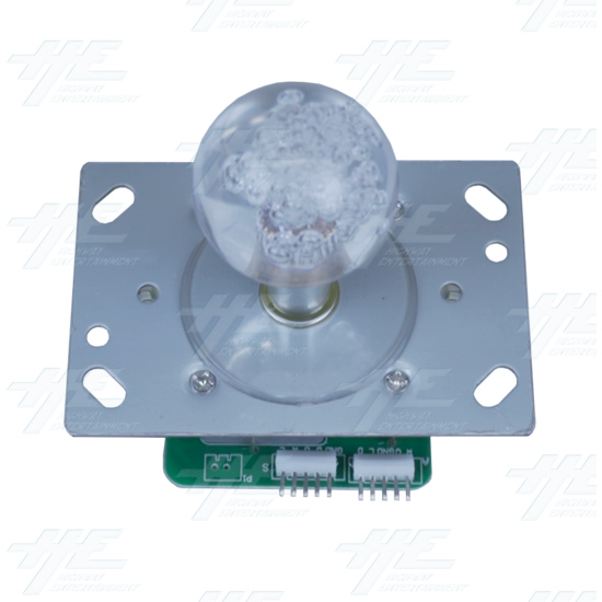 Multi-coloured Illuminated Joystick with Clear Bubble Top for Arcade Machine - top view
