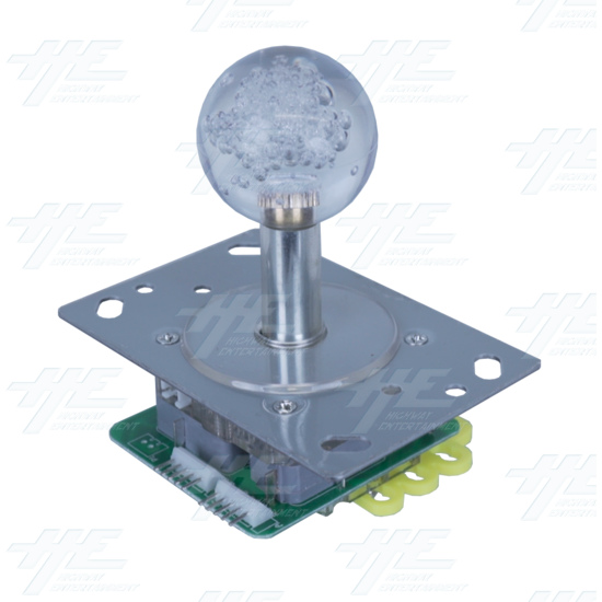 Multi-coloured Illuminated Joystick with Clear Bubble Top for Arcade Machine - Angle View