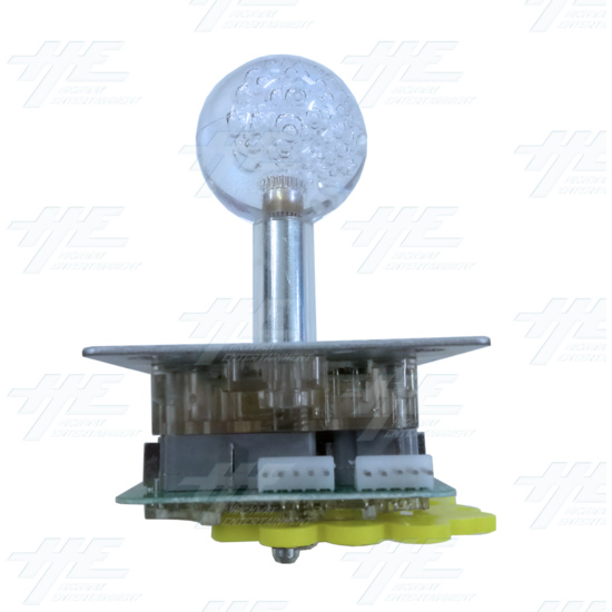 Multi-coloured Illuminated Joystick with Clear Bubble Top for Arcade Machine - Front View