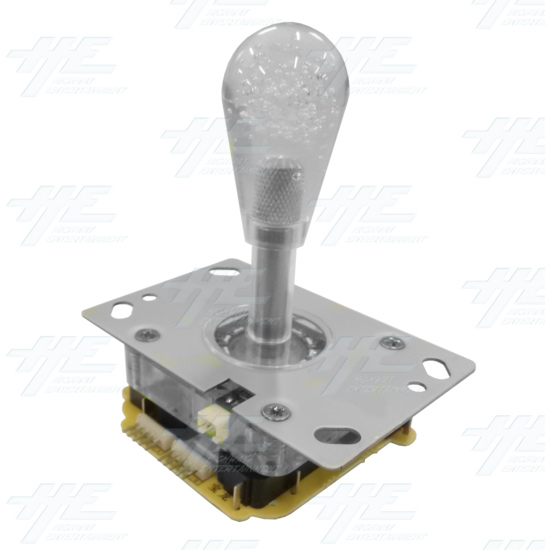 White Illuminated Clear Joystick for Arcade Machine - Angle View