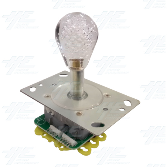 Short Bat Clear Bubble Top Multi-coloured Illuminated Joystick for Arcade Machine - Angle View