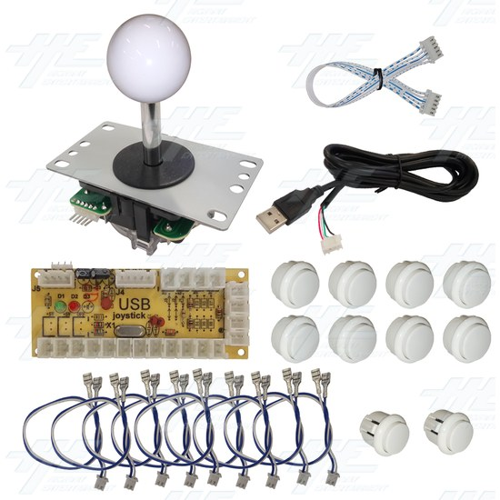 DIY White Arcade Joystick and Buttons Kit for Arcade Machines - PC Joystick Control Kit