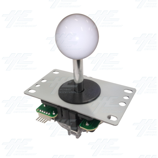 DIY White Arcade Joystick and Buttons Kit for Arcade Machines - White Joystick - Angle View