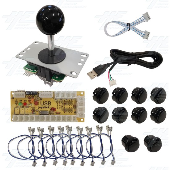 DIY Black Arcade Joystick and Buttons Kit for Arcade Machines - PC Black Joystick Control Kit