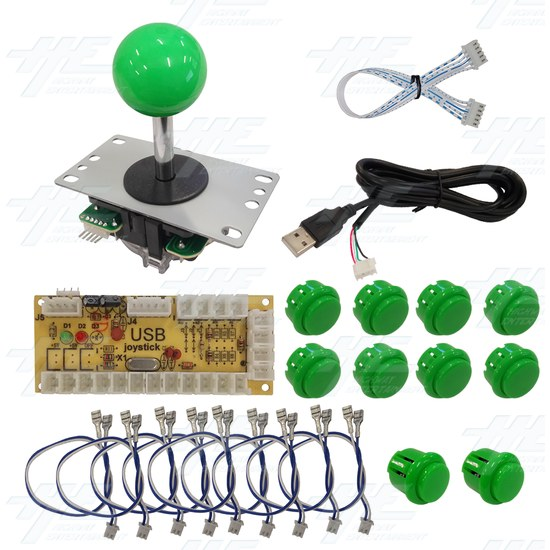 DIY Green Arcade Joystick and Buttons Kit for Arcade Machines - PC Joystick Control Kit