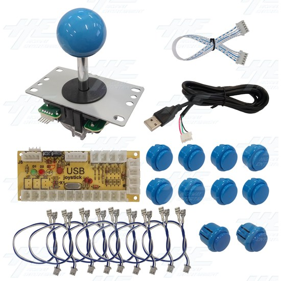 DIY Blue Arcade Joystick and Buttons Kit for Arcade Machines - PC Joystick Control Kit