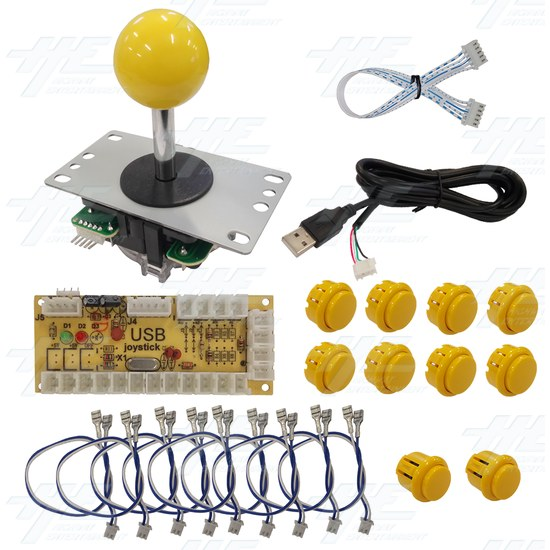 DIY Yellow Arcade Joystick and Buttons Kit for Arcade Machines - PC Joystick Control Kit