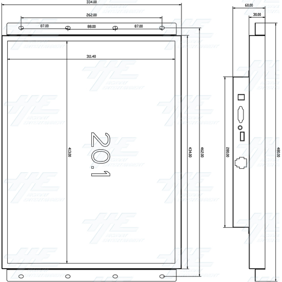 20 inch LCD Monitor suitable for Lowboy Cabinet or Cocktail Table - 20 Inch Monitor Dimensions.jpg