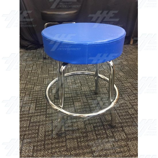 Arcade Stool Chrome with Swivel Seat (Blue) - Blue Stool 1.jpg