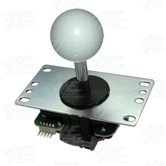 Sanwa Joystick (JLF-TP-8YT) with White Ball Top - Angle View